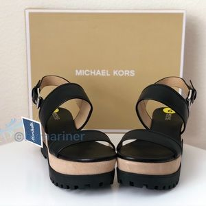 NWT Michael Kors Gillian Mid Wedge Leather Sandals